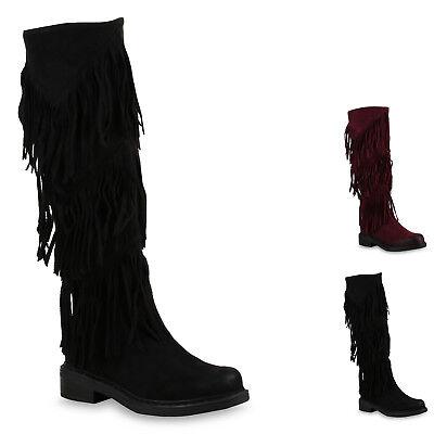 Flache Damen Stiefel Mukluks Ethno Boots Fransen Schuhe 813431 New Look Damen Fransen Stiefel