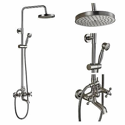 Brushed Nickel Shower Faucet 8 inch Rainfall With Hand Shower Tub Spout Mixer