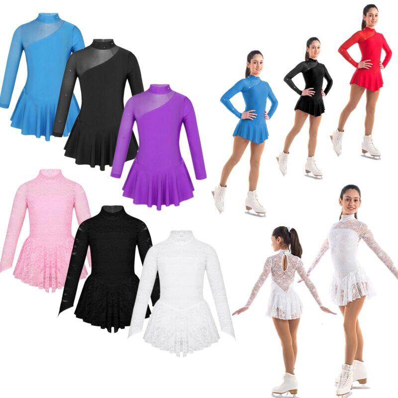 Girls Ice Skating Dress Sequins Jazz Latin Ballet Dancer Dress Kids Show Costume