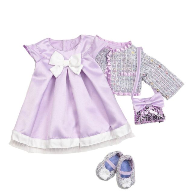 Our Generation Need For Tweed Outfit - Doll Clothes Dress Cardigan Shoes Bag