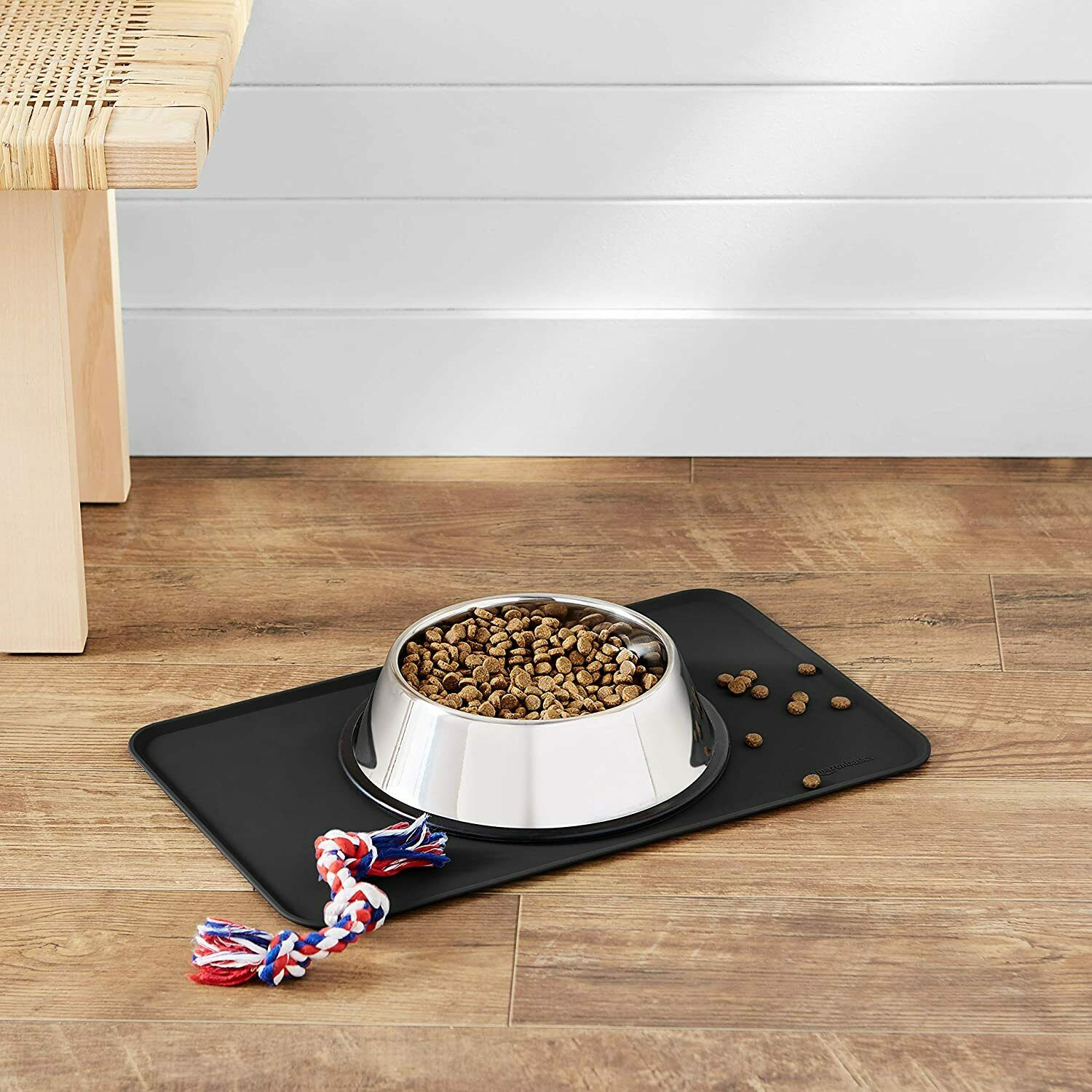 Amazon Basics Silicone Waterproof Pet Food & Water Bowl Mat Grey, 18.5 x 11.5