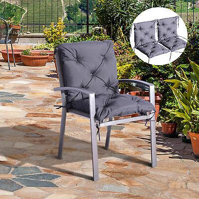 2er Set Auflage für Niederlehner Stuhlauflage Sitzpolster Garten Kissen Grau