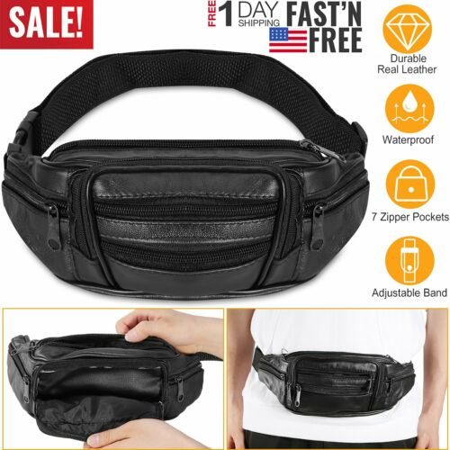 Leather Waist Bag Fitness Running Jogging Cycling Belt Pouch