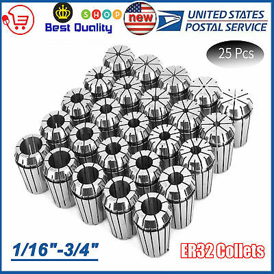 New Er32 Collet 25pcs Set 116-34 By 16th And 32nd Industrial Grade Accurate