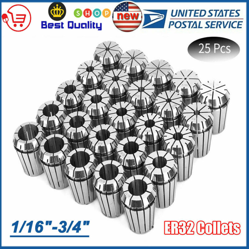 """NEW ER32 COLLET 25PCS SET 1/16""""-3/4"""" by 16th and 32nd INDUSTRIAL GRADE ACCURATE"""