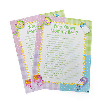 24 WHO KNOWS MOMMY BEST Baby Shower Activity Game PARTY DECOR BOY GIRL PINK - Best Baby Shower