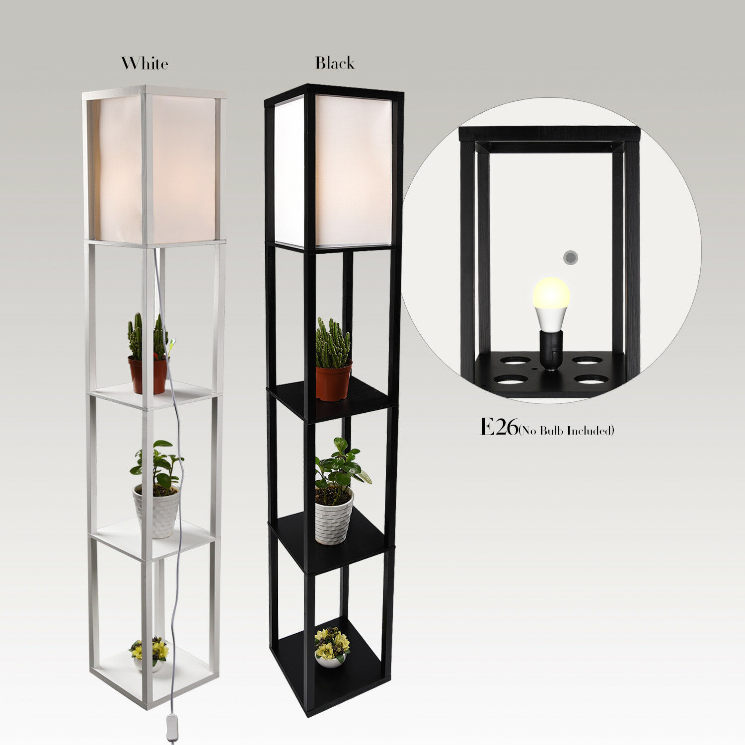 LED Floor Lamp Storage Shelf Standing Wood Light Adjustable