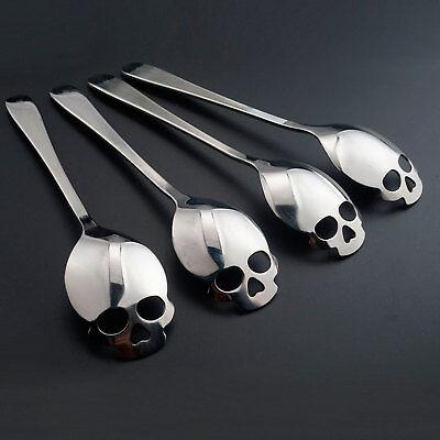 4x Kaffeelöffel Tee Löffel Kuchen mit Totenkopf Skull Schädel Edelstahl Geschenk