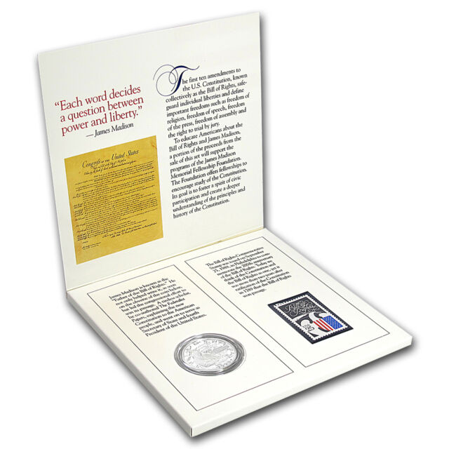 1993 2-Pc Bill of Rights Coin and Stamp Proof Set (w/Box & COA) - SKU #26984