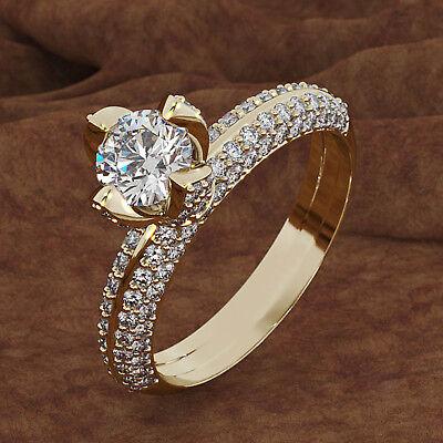 Real 10K Yellow Gold 2.50 CT Diamond Round Cut Engagement Ri