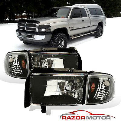 1994-2001 Dodge Ram 1500 2500 3500 Black Clear Headlights + Corner Signal Lamps
