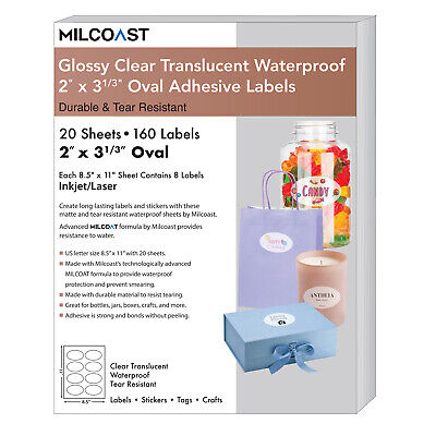 Milcoast Glossy Clear Translucent 2 X 3-13 Oval Labels 20 Sheets