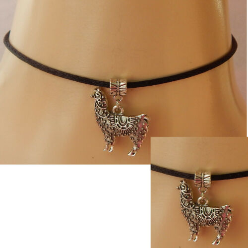 Llama Choker Necklace Silver Handmade Jewelry Chain Pendant Fashion NEW Black
