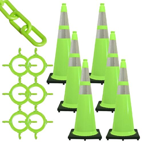 """Mr. Chain Traffic Cone and Chain Kit, Safety Green with Reflective Collars, 36"""""""