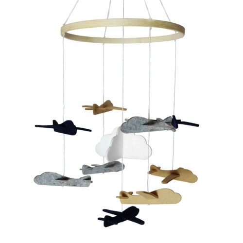 Baby Crib Mobile 3D Handmade Felt Nursery Mobile, Hanging Rotating Airplanes Boy
