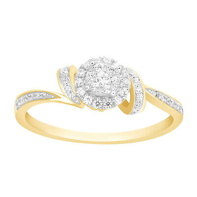 Womens 14k Yellow Gold 0.25 Ct Natural Diamond Cluster Promise Engagement Ring