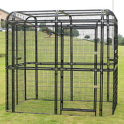 Large Bird Cage Walk in Iron Aviary Heavy Duty Pet Parrots Poultry House Black