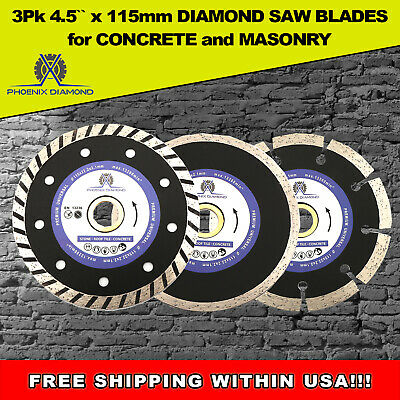 3pk 4-12 Diamond Saw Blade Cutting Discs Concrete Stone For Angle Grinder