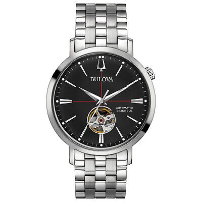 Bulova Men's Automatic Silver-Tone Band 45mm Watch 96A199