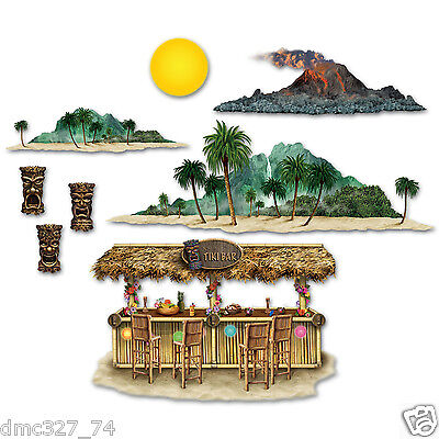 Tiki Bar Party Supplies (LUAU TIKI Hawaiian Party Wall Decoration TIKI BAR & VOLCANO ISLAND Add On)