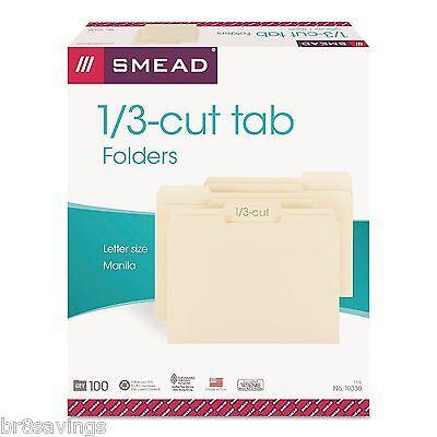 Smead Manila File Folders 100 Per Box Letter Size 13 Cut Tab