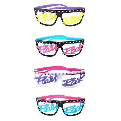 Men's Womens Novelty 80s LMFAO Party Rock Glow in the dark no Lenses Eye Glasses - Glow In The Dark Eye Glasses