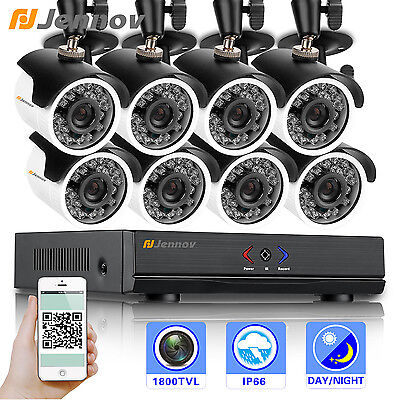 Jennov 8Ch Ahd Security Dvr System1800tvl Wateproof Cctv Camera Day Night Vision
