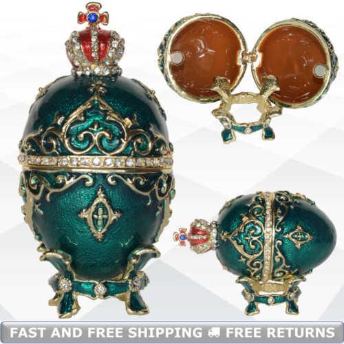 Faberge Egg Shaped Vintage Jewelry Trinket Box Bejeweled Rhinestone Ring Holder