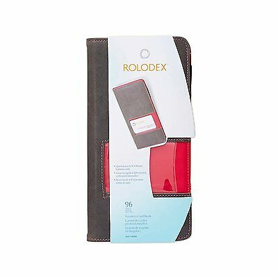 Rolodex Identity Collection Fabric Business Card Book, 96-Card, Raspberry