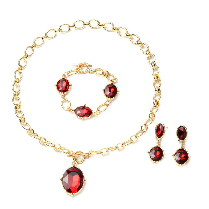 """Red Glass Set of 3 Linked Chain Necklace Bracelet Earrings Set Gift Size 20.5"""""""