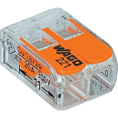 WAGO GENUINE 221-412 LEVER-NUTS 2 CONDUCTOR COMPACT CONNECTORS 50 PCS NEW STYLE