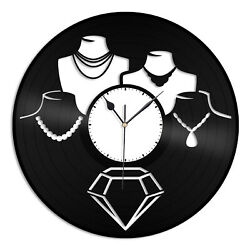 Jewelry Shop Vinyl Wall Clock Unique Gift for Friends Living Room Decoration