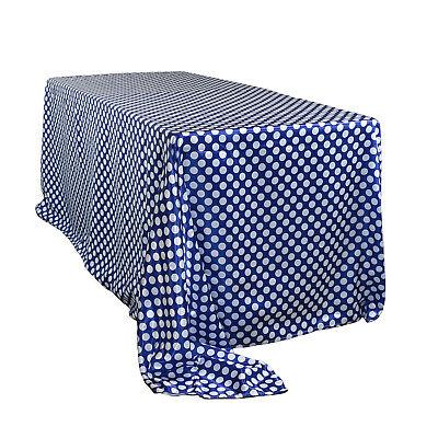 90 x 156 inch Rectangular Satin Tablecloth Royal Blue/White Polka Dot](Polka Dot Tablecloths)