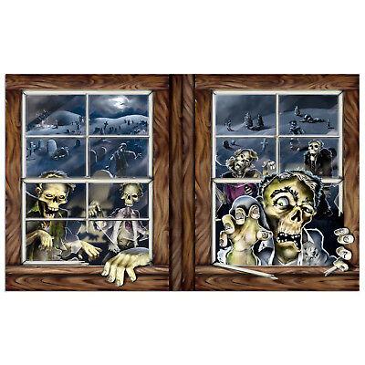 Halloween ZOMBIE Attack backdrop WINDOW wall banner prop DECORATION Apocalypse - Zombie Apocalypse Halloween Decorations