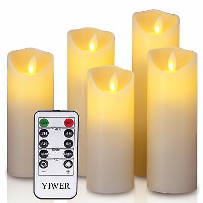 5 Set Flameless Candles LED Flickering Moving Wick Pillar Remote Battery