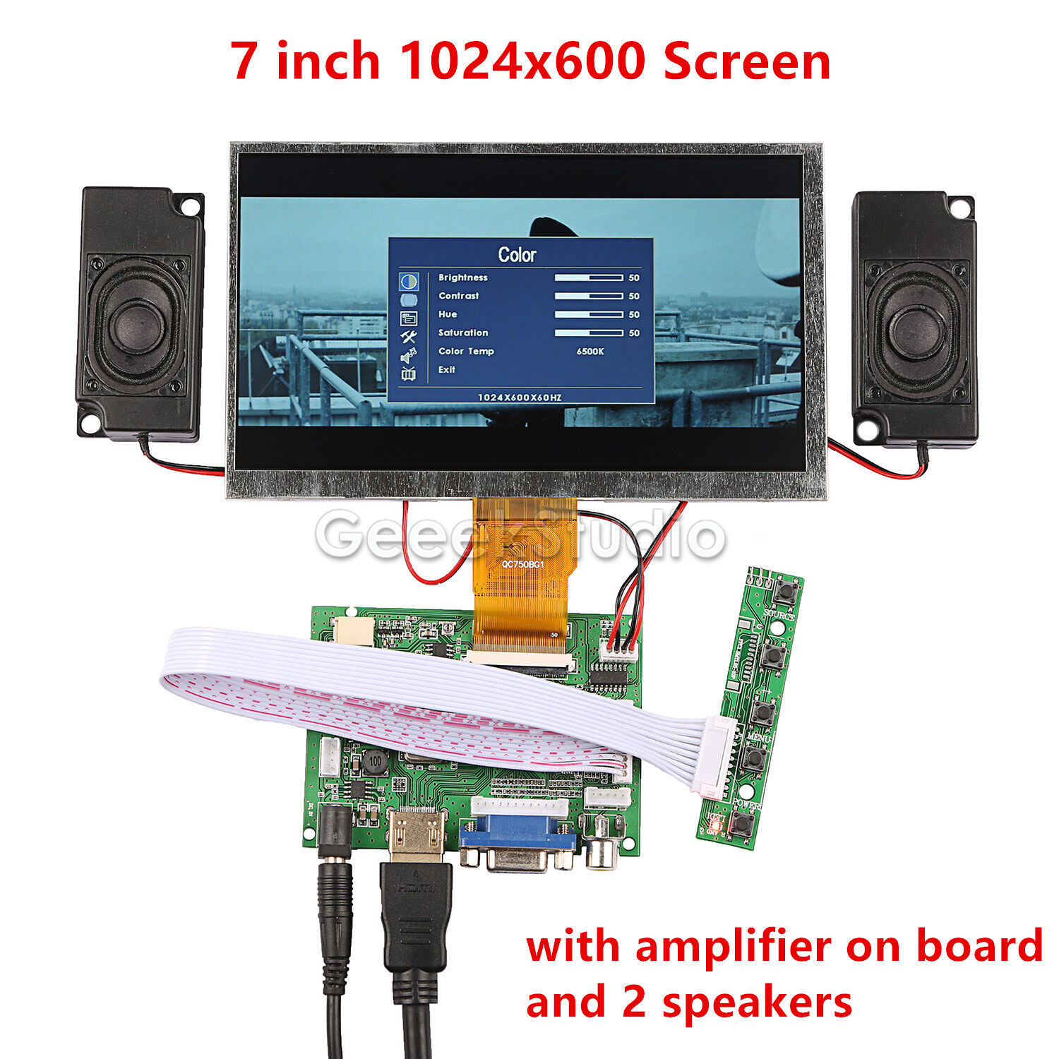 7'' 1024*600 Display Screen For Raspberry Pi + Driver Board+