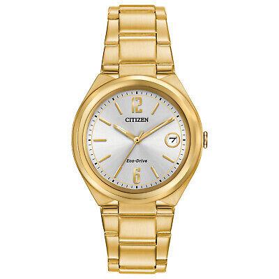 Citizen Eco-Drive Women's Chandler Date Calendar Gold-Tone 34mm Watch FE6022-85A