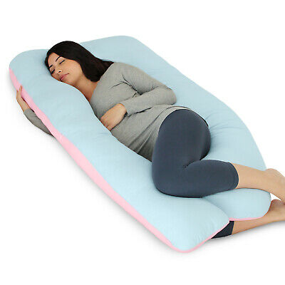 PharMeDoc Full Body Pillow, U Shaped Pregnancy Pillow + Blue & Pink Jersey Cover