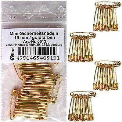 36 Mini Sicherheitsnadeln  goldfarben 19 mm, Sicherheits- Nadel, klein, 0513