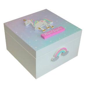 GIRLS KIDS UNICORN MAGIC WHITE WOODEN JEWELLERY KEEPSAKE BOX