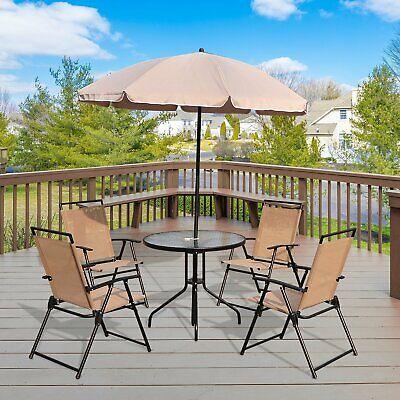 6Pc Patio Umbrella Set Outdoor Furniture Foldable Cream-white