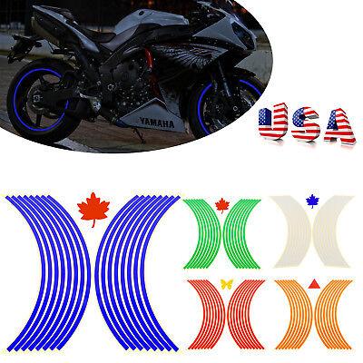 Wheel Stripe - 16 Strips Reflective Motorcycle Car Rim Stripe Wheel Decal Tape Sticker 17