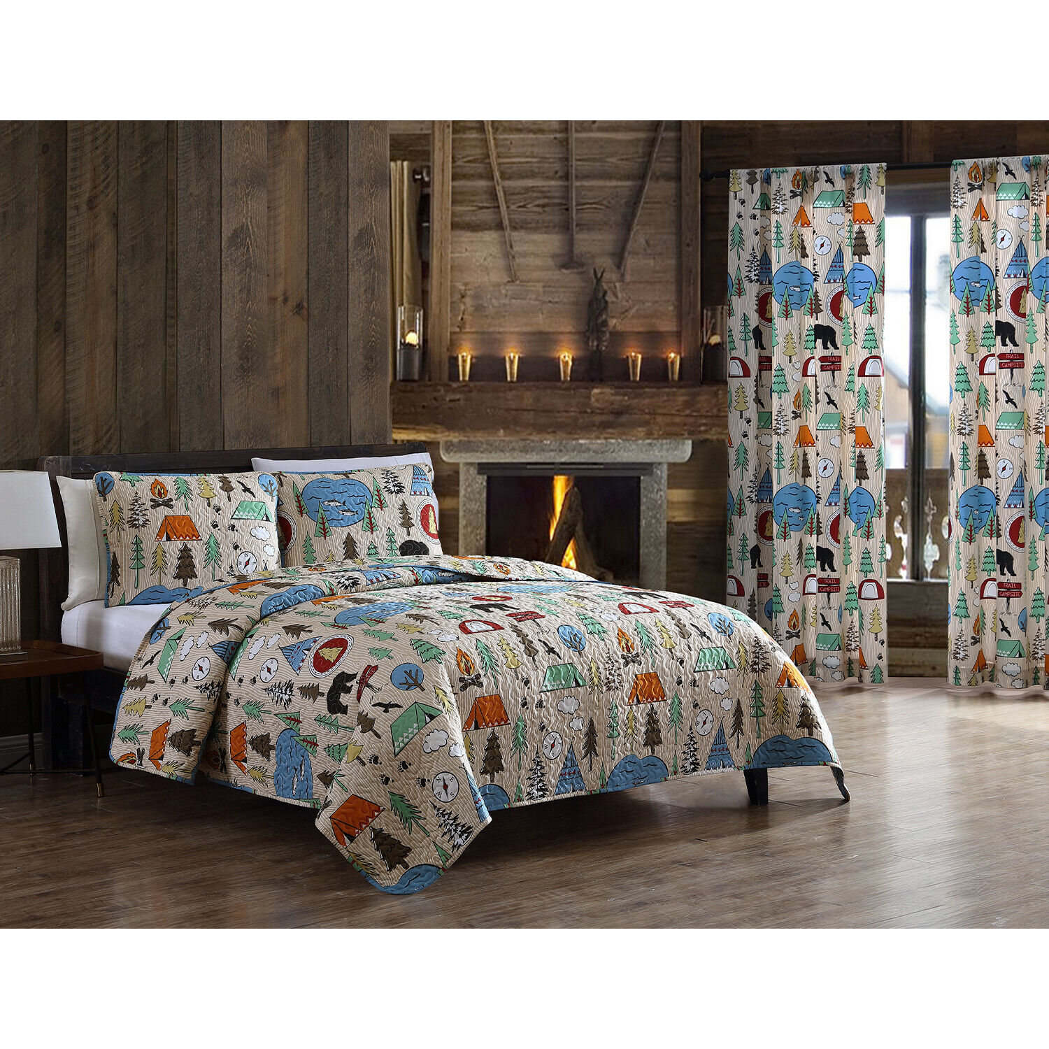 Twin, Full/Queen or King Camping Quilt Set or Curtains Tents Lakes Bears, Tan Bedding