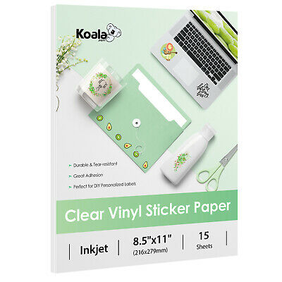 Koala Printable Clear Vinyl Sticker Paper for Inkjet 8.5x11 Waterproof Label DIY