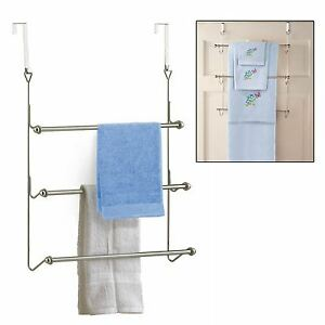 3 Tier Chrome Over Door Towel Rail Rack Hanger Holder Bathroom Storage Organizer