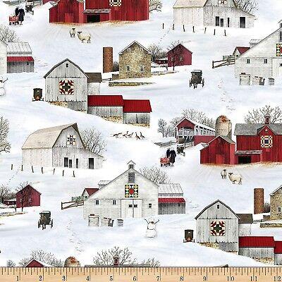 Christmas Fabric - Headin' Home Snow Covered Barns - Elizabeth's Studio YARD