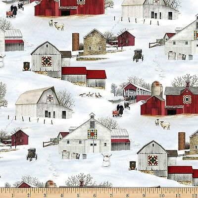 Christmas Fabric - Headin' Home Snow Covered Barns - Elizabe