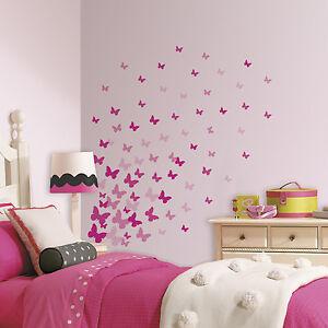 75 new pink flutter butterflies wall decals girls butterfly stickers room decor - Pink wall decor idea ...