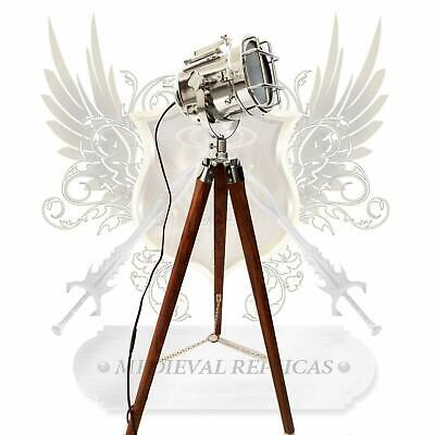 Beautiful Vintage Floor Lamp Spotlight Stage Theater Nautical Theme Tripod Light