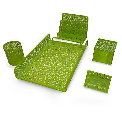 Majestic Goods 5 Pieces Green Flower Designed Punched Metal Mesh Desk Set